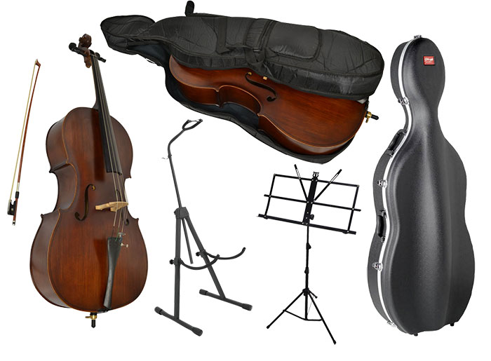 sotendo full size cello set with hard case stand music stand cello. Black Bedroom Furniture Sets. Home Design Ideas