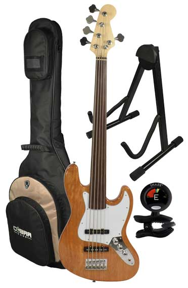 5 string fretless bass guitar tuner gig bag and stand bass guitars. Black Bedroom Furniture Sets. Home Design Ideas