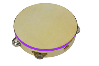 "Bryce Wooden Tambourine 8"" with Hea"