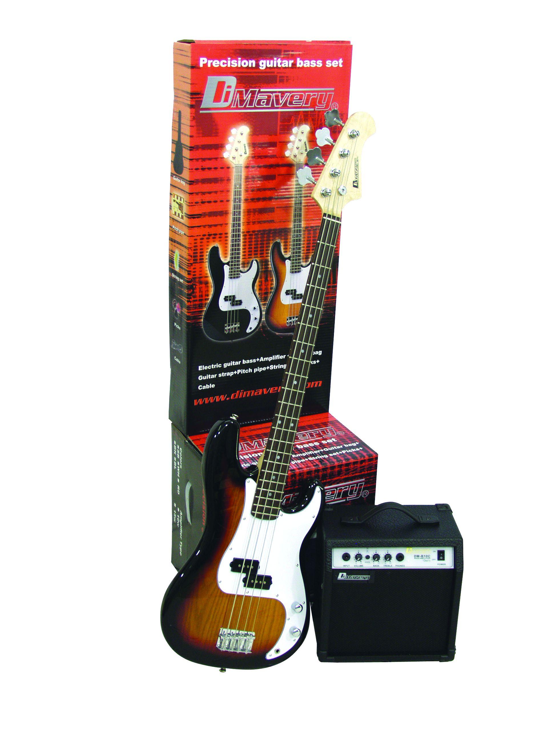 dimavery bgs10 electric bass guitar and amp set with bag sunburst bass guitars. Black Bedroom Furniture Sets. Home Design Ideas