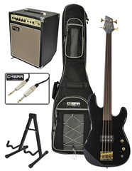 Fretless 4 String Bass Guitar with 20w