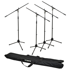 Four Boom MIC Stands, Clips and Bag%