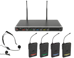 Quad UHF Beltpack Mic System with Head